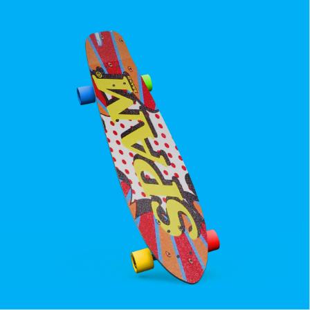 SPAM longboard on a blue background.