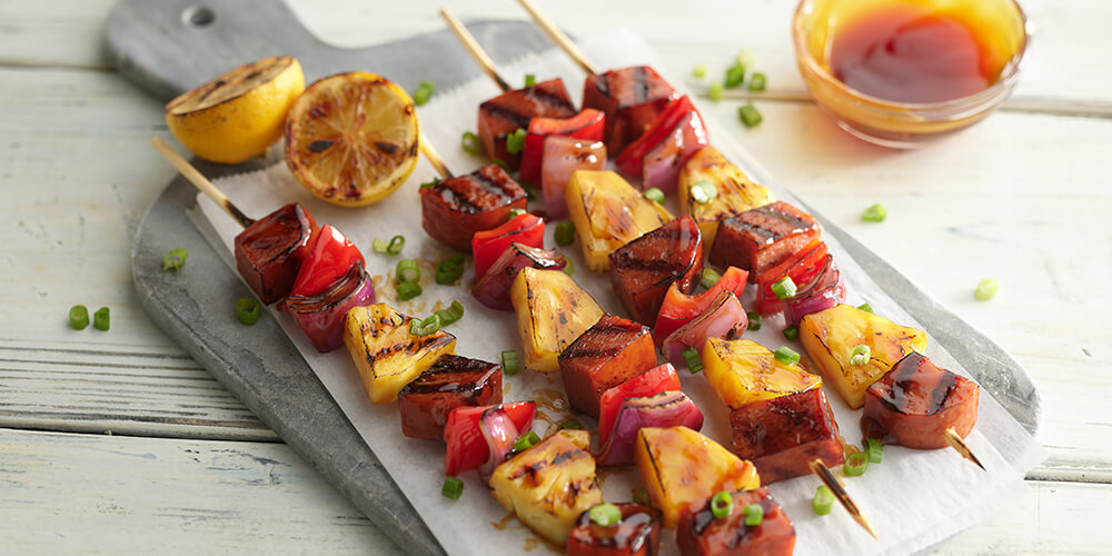 SPAM® Teriyaki, Pineapple, and Red Pepper Kabobs