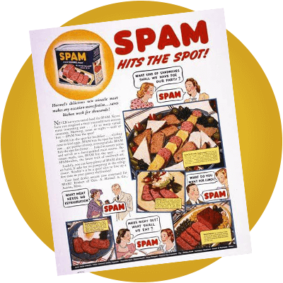 A flier shows Hormel Foods introducing the SPAM brand in 1937.