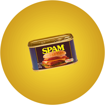 SPAM 7 Ounce can on a yellow background.