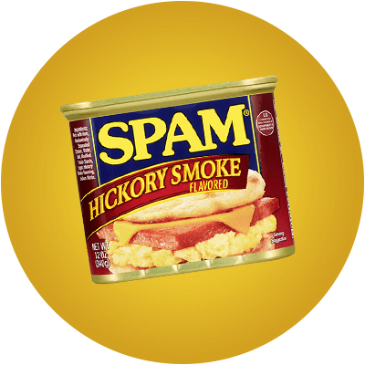 Can of SPAM Hickory Smoke on a yellow background.