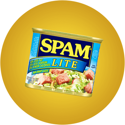 Can of SPAM Lite on a yellow background.