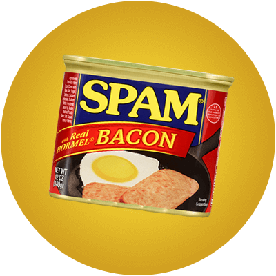 Can of SPAM with Real HORMEL Bacon on a yellow background.