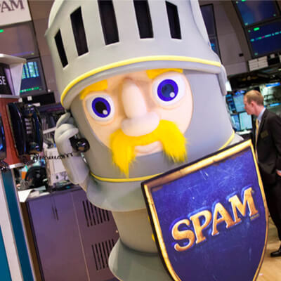 SPAM character Sir Canalot holding a SPAM shield.
