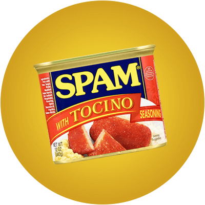 Can of SPAM with Tocino Seasoning on a yellow background.