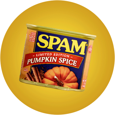 A can of pumpkin spice SPAM® on a yellow background.
