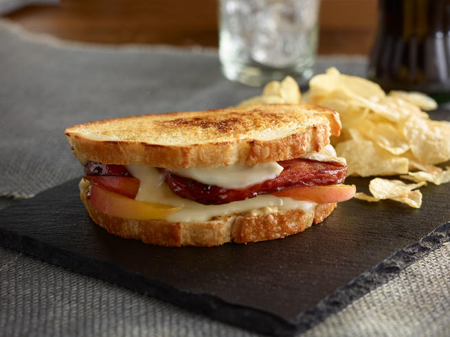 SPAM® Grilled Cheese with Brie and Peaches